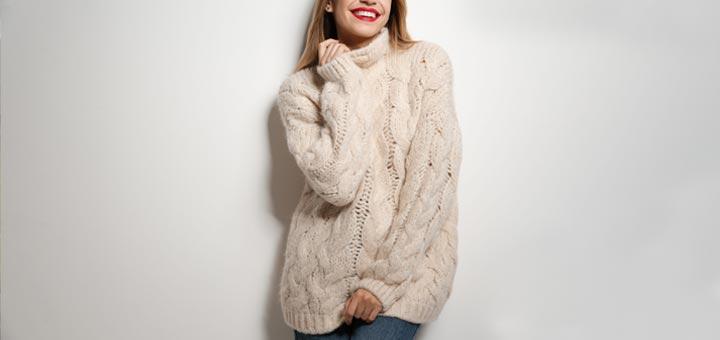 woman smile sweater warm